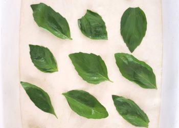 Frunze de busuioc în focaccia
